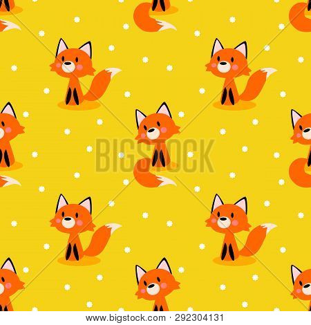 Seamless Pattern Of Cute Fox On Bright Yellow Background. Cute Animal Concept.
