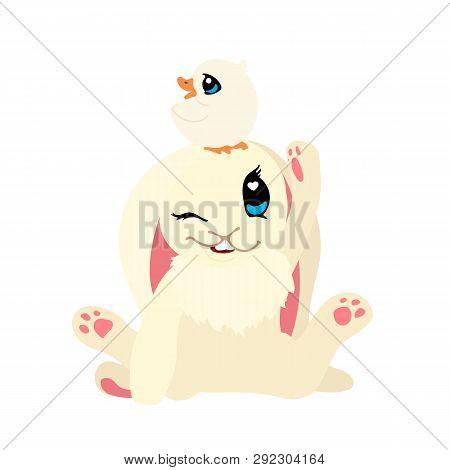Vector Flat Cartoon Animal Clip Art Bunny And Ducky