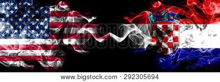 United States Of America Vs Croatia, Croatian Smoky Mystic Flags Placed Side By Side. Thick Colored