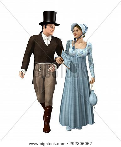 A handsome, happy, young Victorian couple taking a stroll, romance and love, 3d render illustration poster