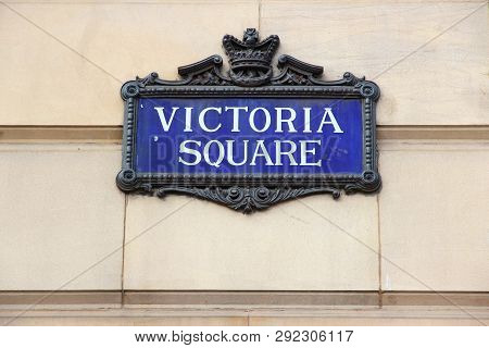 Birmingham - Victoria Square Sign. City In West Midlands, England.