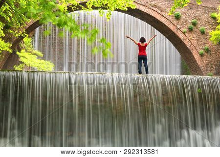 Stunning Spring Landscape.beautiful Young Girl Standing At Paleokarya Waterfall. Old, Stone, Arched