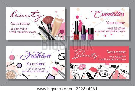 Set Of Cosmetics Sale Banners And Ads Templates, Hand Drawn Style Vector Illustration