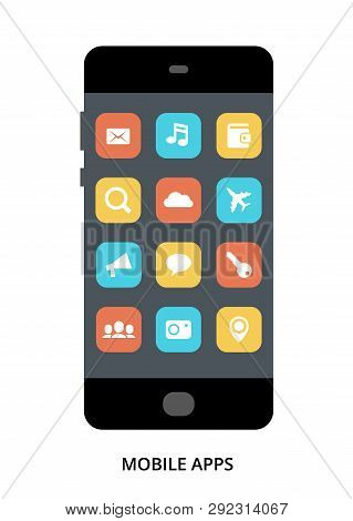 Mobile Apps Concept On Black Smartphone With Different User Interface Elements, Flat Vector Illustra