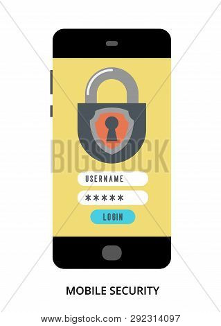 Mobile Security Concept On Black Smartphone With Different User Interface Elements, Flat Vector Illu