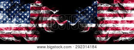 United States Of America Vs United States Of America, American Smoky Mystic Flags Placed Side By Sid
