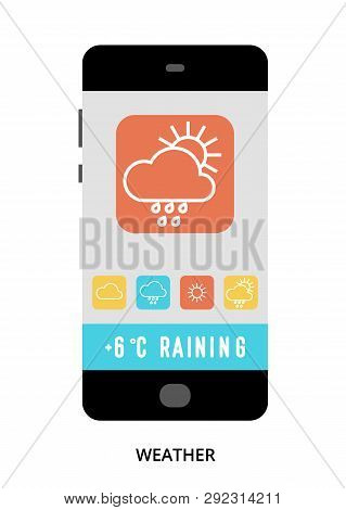 Weather Concept On Black Smartphone With Different User Interface Elements, Flat Vector Illustration