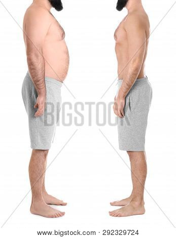 Overweight Man Before And After Weight Loss On White Background, Closeup