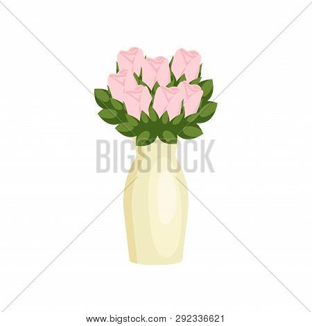 Beautiful Dainty Flowers Roses Composition In High Vase On Empty Background