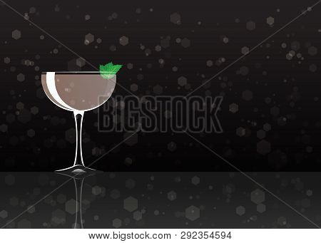 Official Cocktail Icon, The Unforgettable Stinger Cartoon Illustration For Bar Or Restoration  Alcoh