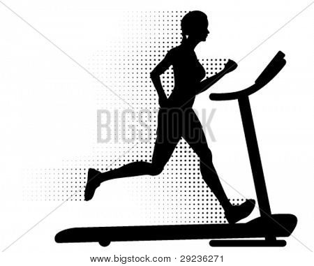 Vector healthy young woman running on a modern treadmill at great speed with halftone pattern motion trails. Silhouette.