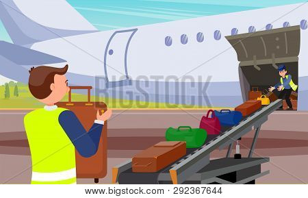 Loading Baggage In Airplane Flat Illustration. Two Happy Young Airport Workers Carry  Suitcases And