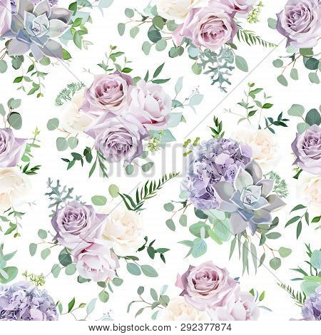 Seamless Vector Design Pattern Arranged From Dusty Violet Lavender, Creamy And Mauve Antique Rose, H