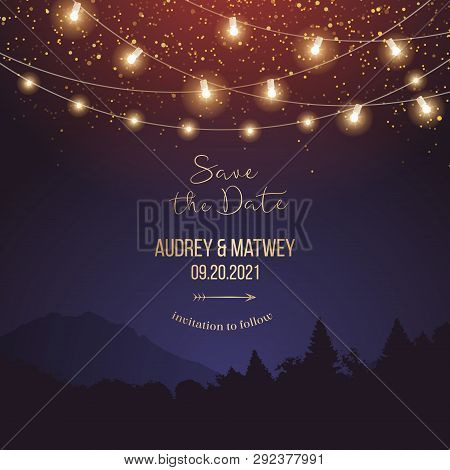 Magic Night Wedding Lights Vector Design Invitation. Party Hanging Lamp Garlands. Landscape Purple B