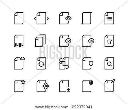 Documents Line Icons. Business Paper File Record Data Process Search Time Update Action Work Batch.