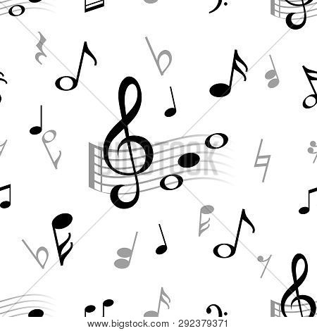 Music Note Seamless. Abstract Musical Note Treble Clef Harmony Stave Classical Music Choir Jazz Vect