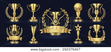 Golden Trophy. Realistic Champion Award, Contest Winner Prizes With Laurel Shapes, 3d Awards Banner.