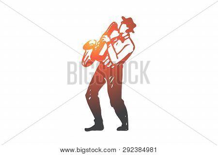 Music, Jazz, Play, Saxophone, Performance Concept. Hand Drawn Jazz Musician Play On Saxophone Concep
