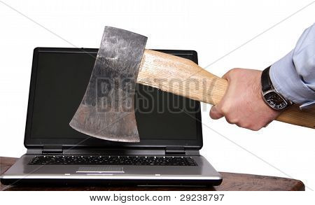 Laptop death by axe isolated