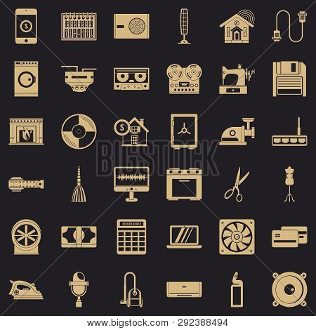 Home Appliance Icons Set. Simple Style Of 36 Home Appliance Icons For Web For Any Design