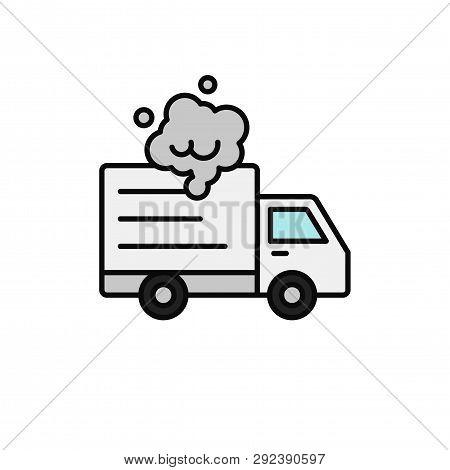 delivery truck smoke icon. shipment car broke down illustration. simple outline vector symbol design. poster