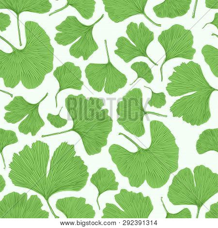 Ginkgo Biloba Leaf Tablecloth Seamless Pattern. Silhouettes Of Ginkgo Leaves On White Background. Na
