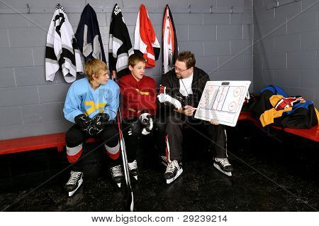 Coaching Teenage Hockey Players In Dressing Room