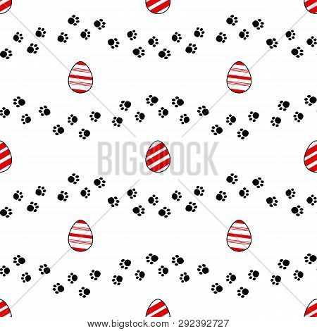 Easter Egg Hunt Seamless Pattern With Outlined Elements. Pawprints Trails And Decorative Ester Eggs