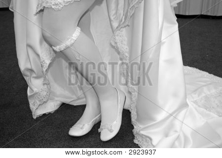 bride's shoes and garter