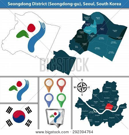 Vector Map Of Seongdong District Or Gu Of Seoul Metropolitan City In South Korea With Flags And Icon
