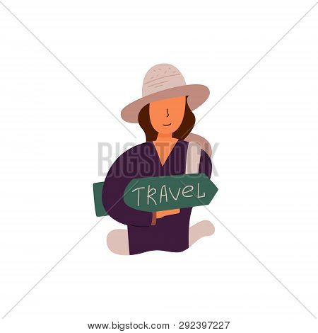 Vector Flat Banner Travel Time. The Girl In The Brown Hat Took A Backpack And Is Ready To Go On A Tr