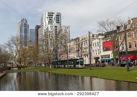 Rotterdam, The Netherlands - April 7 2018: Modern And Old Architecure Of City Centre Of Rotterdam Wi