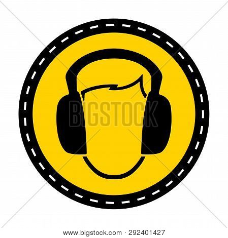 Symbol Wear Ear Muff Sign On White Background