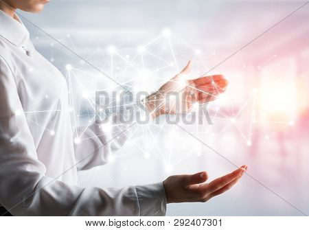 Business Woman In Shirt Keeping White Social Media Network Structure In Hands With Office View And S