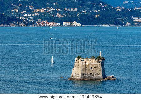 The Scola Tower (torre Scola) Xvii Century In The Gulf Of La Spezia Near Porto Venere, In The Backgr