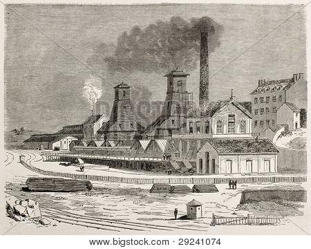 Le Creusot cool mine old view, France. Created by Therond after Bonhomme, published on Le Tour du Monde, Paris, 1867