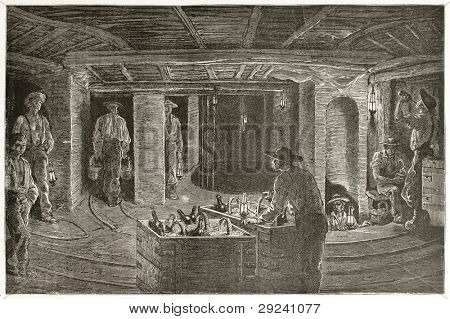 Miners dining underground, old illustration. Created by Neuville after Bonhomme, published on Le Tour du Monde, Paris, 1867