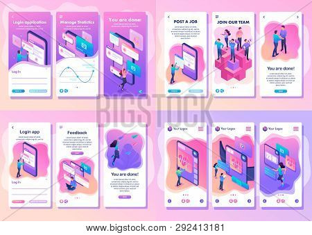 Set Isometric Template App Bright Concept Testing Device, Feedback, Ux Design, Join Our Team, Smartp