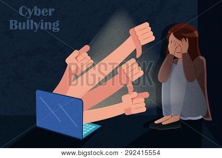 Sad Girl Has Problem Of Mockery And Bullying On The Internet
