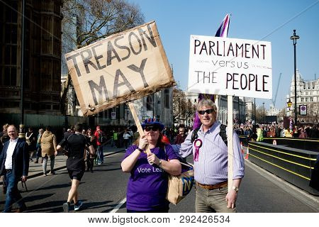 London, United Kingdom, March 29th 2019:- Pro Brexit Supporters Outside The British Parliament Accus