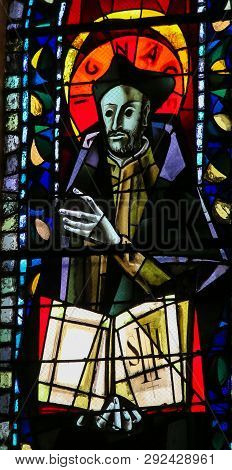 Paris, France - February 11, 2019: Stained Glass In The Basilica Sacre Coeur In Paris, France, Depic