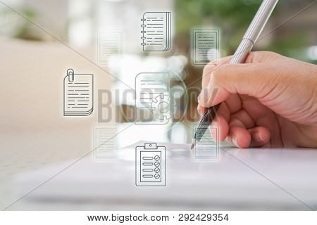 Document Report And Business Data System Business Hr Technology Concept: Businessman Manager Hands H