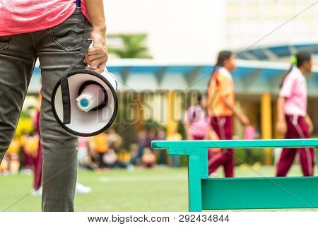 Bangkok, Thailand - January 15,2019  At The School's Annual Sporting Event, Elementary Student Girls