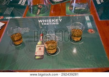 Cork, Ireland - June 20, 2008:  Table Served For Tasting Irish, Scotch And American Whiskey In Museu