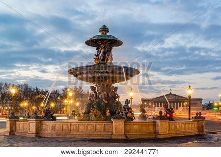 Fontaine Place de la Concorde in Paris France at sunrise