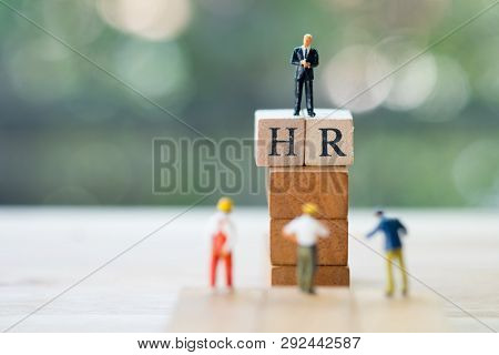 Miniature People: Recruitment Picking Business Person Candidate People Group. Employer Of Choice, Ca