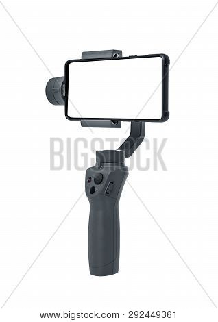 Smartphone Gimbal Stabilizer Isolated On White Background.