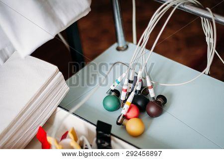 EEG electrode. Electroencephalogram studying the vascular system of the brain (EEG) Rheoencephalography poster