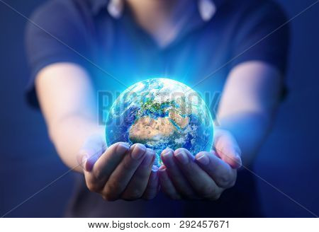 Hands Holding Planet - Earth Day Concept - 3d Rendering - Europe And Africa Elements Of This Image F