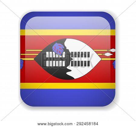 Eswatini Flag Bright Square Icon On A White Background